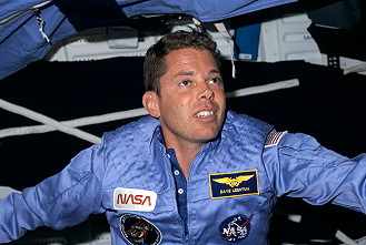 Leestma onboard Space Shuttle