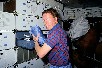 Richards onboard Space Shuttle