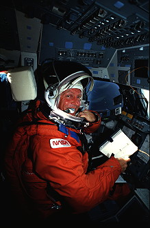 Shriver onboard Space Shuttle