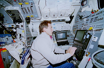 Durrance onboard Space Shuttle