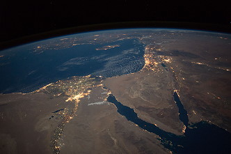 Sinai peninsula by night